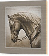 Western Horse Aged Photo Fx Sepia Pillow Wood Print