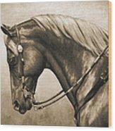 Western Horse Painting In Sepia Wood Print