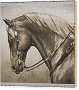 Western Horse Old Photo Fx Wood Print by Crista Forest