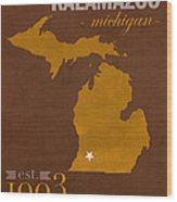 Western Michigan University Broncos Kalamazoo Mi College Town State Map Poster Series No 126 Wood Print