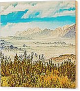 Western Panorama From Mountain At Joshua Tree National Park Wood Print