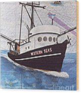 Western Seas Trawl Fishing Boat Nautical Chart Art Wood Print