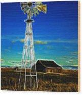Western Windmill Wood Print by Steve McKinzie
