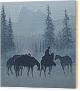 Western Winter Wood Print by Randy Follis