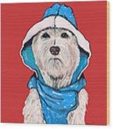 Westie In A Blue Slicker Wood Print