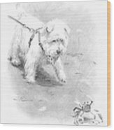 Westie On Beach Pencil Portrait  Wood Print