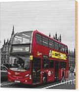 Westminster And Red Bus Wood Print