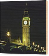 Westminster Bridge And Big Ben At Wood Print