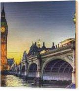 Westminster Bridge And Big Ben Wood Print