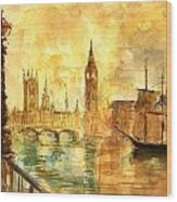 Westminster Palace London Thames Wood Print