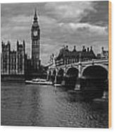 Westminster Pano Bw Wood Print