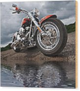 Wet And Wild - Harley Screamin' Eagle Reflection Wood Print