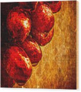 Wet Grapes Three Wood Print