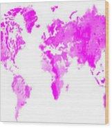 Wet Paint World Map Wood Print