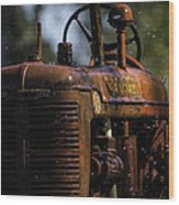 Wet Red Tractor Wood Print