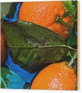 Wet Tangerines Wood Print by Alexander Senin