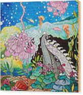 Whaeel And The Sea Wood Print