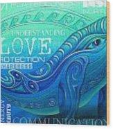 Whale Totem Wordart Wood Print