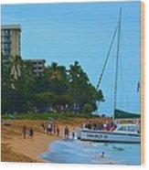 Whale Watchers On Maui Wood Print