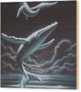 Whales in the Sky Wood Print