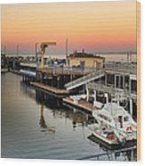 Wharf #2 In Monterey At Sunset Wood Print