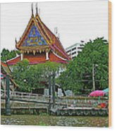 Wharf Along Waterway Of Bangkok-thailand Wood Print