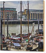 Wharf Ships Wood Print
