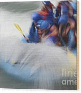 White Water Rafting What A Rush Wood Print