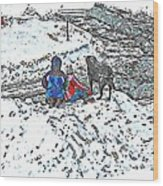 What Fascinates Children And Dogs -  Snow Day - Winter Wood Print