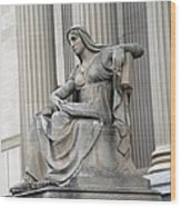 What Is Past Is Prologue Statue At National Archives -- 2 Wood Print