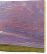 Wheat Field Sunset Panorama Wood Print