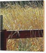 Wheat N' Fence Wood Print