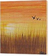 Wheatfield At Sunset Wood Print