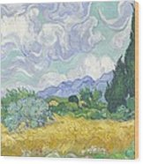 Wheatfield With Cypresses Wood Print