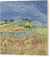 Wheatfield With Stormy Sky Wood Print