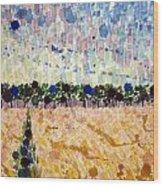 Wheatfields At Dusk Wood Print