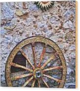 Wheel And Sun In Taromina Sicily Wood Print