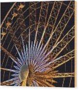 Wheel At Night Niagara Falls Wood Print