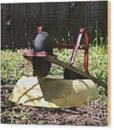 Wheel Barrow In A Yard Wood Print by Robert D  Brozek