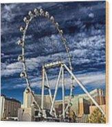 Wheel In The Sky Las Vegas Wood Print
