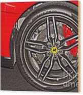Wheel Of A Ferrari Wood Print
