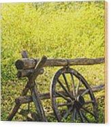 Wheel On Fence Wood Print