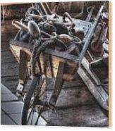 Wheelbarrow At Shipyard Wood Print