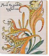 When Lilies Turned To Tiger Blaze Wood Print by Walter Crane