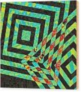 When Squares  Merge Green Wood Print