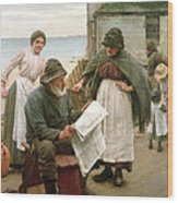 When The Boats Are Away Wood Print by Walter Langley