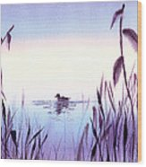 When The Sky Melts With Water A Peaceful Pond Wood Print