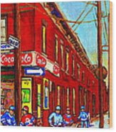When We Were Young - Hockey Game At Piche's - Montreal Memories Of Goosevillage Wood Print