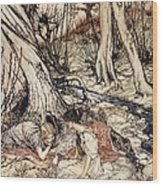 Where Often You And I Upon Fain Primrose Beds Were Wont To Lie Wood Print by Arthur Rackham
