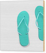 Where On Earth Is Spring - My Aqua Flip Flops Are Waiting Wood Print by Andee Design